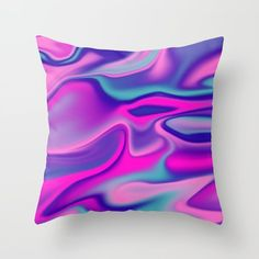 Liquid Bold Vibrant Colorful Abstract Paint in Blue, Pink and Purple Throw Pillow by peladesign Purple Throw Pillows, Vibrant, Abstract, Pink, Blue, Stuff To Buy, Vernon, Design, Colorful