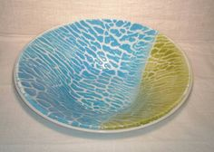 Turquoise Blue and Lime Fused Glass Crackle by GlassElegancePLUS