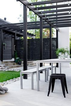Pergola Patio Decor Gardens - Pergola Videos Fireplace - Pergola With Roof Screened Porches - - Black Pergola, Deck With Pergola, Wooden Pergola, Pergola Shade, Patio Roof, Pergola Patio, Pergola Plans, Backyard, Pergola Ideas