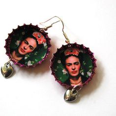 Frida with roses in her hair bottle top earrings