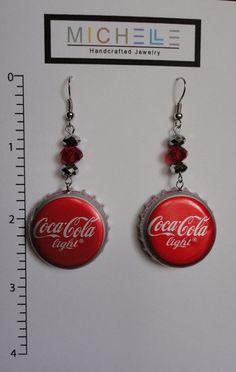 Bottle cap earrings by michellejewelry on Etsy, $8.50