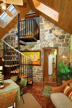 Old English stone cottage living room