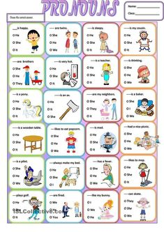 A simple grammar worksheet about the use of subjective pronouns.It is easy and simple for young learners or struggling students . It can be given at the end of your lesson as a wrap up. Pronoun Activities, Pronoun Worksheets, Kindergarten Worksheets, Printable Worksheets, Teaching Pronouns, Prepositions, Nouns And Pronouns, Kids English, English Lessons