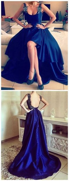 A-line Scoop Neck Satin Asymmetrical Appliques Lace High Low Backless Prom Dress,17387