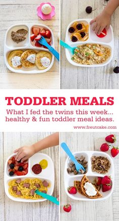 Meals What I Fed The Twins. A weeks worth of Toddler Meal Ideas that are fun, healthy and easy to make for your kids.Toddler Meals What I Fed The Twins. A weeks worth of Toddler Meal Ideas that are fun, healthy and easy to make for your kids. Picky Toddler Meals, Toddler Lunches, Healthy Meals For Kids, Quick Easy Meals, Kids Meals, Healthy Snacks, Healthy Recipes, Toddler Food, Toddler Twins