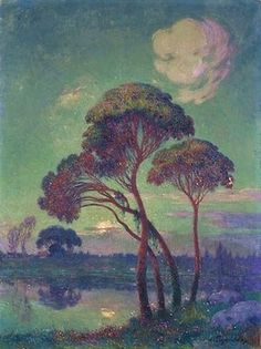 "Impressionist Painting by Ferdinand du Puigaudeau French Artist ""Landscape with Trees"""