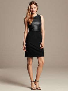 Sloan-Fit Faux-Leather Sheath.  Appropriate enough to put a cardigan over for work.  Sexy enough to wear for a night out.