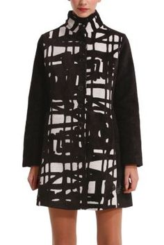 Desigual women's Anna Laura coat in black with an abstract print in white. Slim fit.