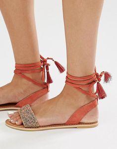 Image 1 ofNew Look Beaded Ankle Tie Flat Sandal