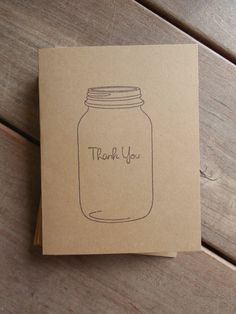 Mason Jar Thank You Cards-Rustic Kraft Mason Jar Wedding Thank You Cards by Lemon Drops & Lilacs on etsy.com