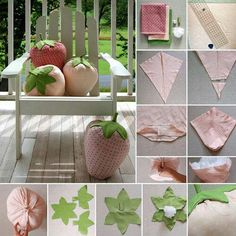 creative sewing to make strawberry shaped pillows This and much more in CreativeMamy Sewing Tutorials, Sewing Crafts, Sewing Projects, Fun Crafts, Diy And Crafts, Arts And Crafts, Sewing Pillows, Diy Pillows, Cushions