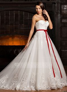 Ball-Gown Sweetheart Cathedral Train Tulle Wedding Dress With Beading Appliques Lace Flower(s) Sequins Bow(s) (002067226)