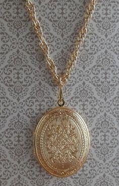 Vintage Ornate Scrollwork Locket Pendant by StarliteVintageGems
