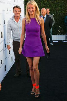 Purple dress & neon shoes.