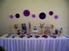 Candy Buffet de Primera Comunión en colores: verde, blanco y morado. Tema: Uvas #candy bar, #party, #first communion.
