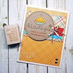 Cute Happy Thanksgiving Cutie Pie Fancy Greeting Card Handmade Orange Yellow Red…