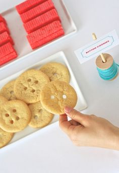 Easy Button Cookies OneCharmingParty.com #sewingparty.com : I bet Pete the Cat or Corduroy would love these cookies!