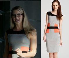 Arrow season 2, episode 2: Felicity Smoak's (Emily Bett) coral and grey colorblock dress is the French Connection Manhattan Jersey Block Dress #getthelook #arrow #felicitysmoak
