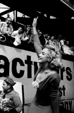 Marilyn Monroe at Ebbets Field, 1957.