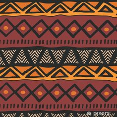Tribal ethnic colorful bohemian pattern with geometric elements, African mud cloth, tribal design Wall Mural ✓ Easy Installation ✓ 365 Days to Return ✓ Browse other patterns from this collection! African Tribes, African Art, African Tribal Patterns, Spiritual Paintings, Bohemian Pattern, African Mud Cloth, Indigenous Art, Mandala, African Design