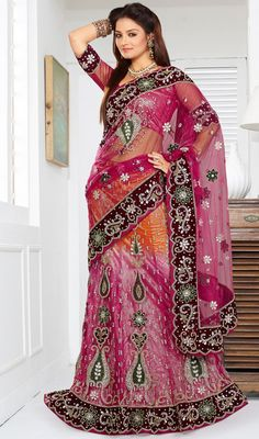 Orange and Pink Net Lehenga Choli Price: Usa Dollar $313, British UK Pound £183, Euro231, Canada CA$336 , Indian Rs16902.