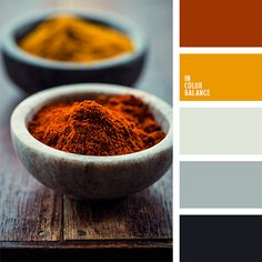 Free collection of color palettes ideas for all the occasions: decorate your house, flat, bedroom, kitchen, living room and even wedding with our color ideas. Orange Color Palettes, Warm Colour Palette, Warm Colors, Pollo Y Waffles, Colour Schemes, Color Combos, Favorite Paint Colors, Color Balance, Colour Board