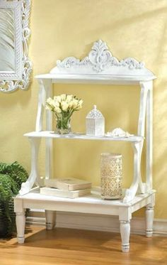 The Shabby Chic décor style popularized by Rachel Ashwell and Arhaus seeks to have an opulent vintage look. Shabby Chic furniture is given a distressed look by covered in sanded milk paint. Shabby Chic Shelves, Shabby Chic Kitchen, Shabby Chic Cottage, Vintage Shabby Chic, Shabby Chic Homes, Shabby Chic Decor, Cottage Style, Shabby Chic Bedrooms, Shabby Chic Furniture