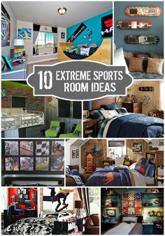 Extreme Sports Bedroom Ideas - Design Dazzle : Extreme Sports Bedroom Ideas Extreme sports such a skateboarding, snowboarding, bike racing, etc. are more popular than ever! We have 10 awesome extreme sports bedroom ideas for you. Cool Boys Room, Cool Rooms, Boy Room, Boys Bedroom Decor, Bedroom Ideas, Boy Bedrooms, Bedroom Makeovers, Sports Bedding, Villa