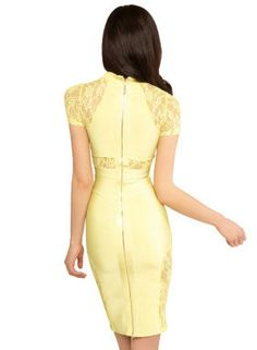 Yellow Lace Combo Bandage Dress  FREE SHIPPING by amazingdresses, $155.00