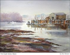 Ron Ranson - Watercolor Port Clyde Harbor , Maine