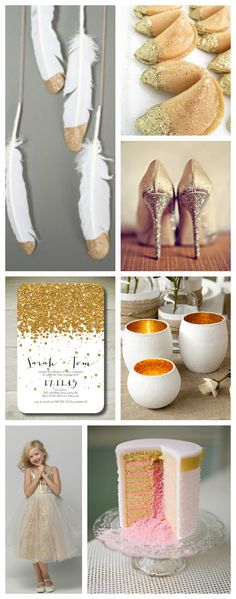 I don't love gold glitter, but there are some fun ideas here!    Sparkle and Shine Wedding Inspiration Board.