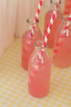 pink lemonade, pink straws,,
