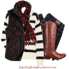 J.crew striped sweater, Tartan scarf & Frye boots