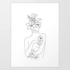 Cute Minimal Line Art Woman with Flowers IV Chopping Board by . - Cute Minimal Line Art Woman with Flowers IV Chopping Board by . Line Art Flowers, Sunflower Art, Feminist Art, Canvas Prints, Art Prints, Canvas Art, Line Tattoos, Line Drawing, Female Art