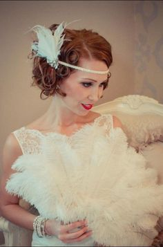 Ginger Feather Fan, Ostrich Feather Fan, Wedding Feather Fan,Bridal Feather Fan, Real Bride, 1920s, twenties, deco