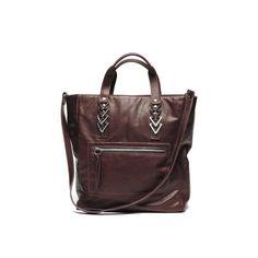 Scapula lambskin leather tote bag in oxblood   Jack Germain