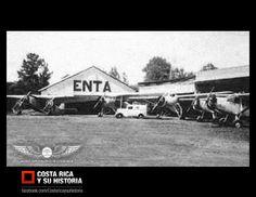 La Empresa Nacional de Transporte Aéreo fue la primera compañía de aviación costarricense, fundada en 1932 por C.N. Shelton y Bob Forsblade. Operó desde La Lindora y la Sabana hasta 1939, en que fue adquirida por Taca. Aquí aparecen los hangares de la E.N.T.A. y su flota en el costado norte del Aeropuerto La Sabana.