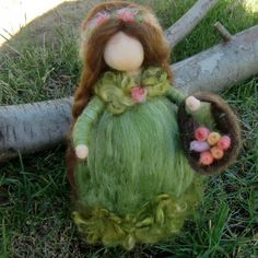 Reserved for Mary  Moss Green Fairy Maiden with Flower by Nushkie, $42.00