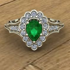 Emerald Engagement Ring  Pear Cut  Scallop Diamond Halo