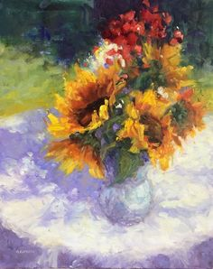 Sunflowers and Geraniums by Ginny Butcher ~ 20 x 16 Sunflower Art, Geraniums, Sunflowers, Still Life, Floral, Painting, Flowers, Painting Art, Paintings