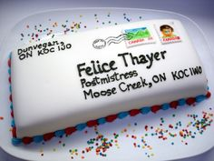 My friend Felice got a job as the postmistress of Moose Creek. Post Box Cake, Retirement Party Cakes, Customer Appreciation Day, Cake Decorating Tools, Piece Of Cakes, Let Them Eat Cake, Baking, Post Office, Cake Ideas