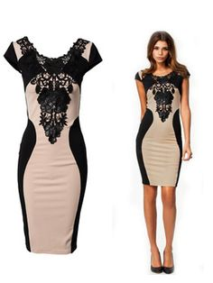 Bandage Dress 2014 New Arrival Women Elegant Embroidery Bodycon Dresses New Fashion Patchwork Autumn Casual 2014 Bandage Dress