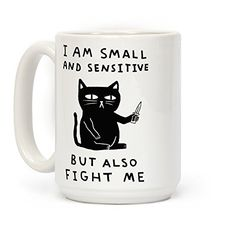 Show off your cute and sassy side with this adorable but fierce, cat with a knife coffee mug! Don't be ashamed of being little and sensitive! Be yourself but also it's a tough world out there so be ready to fight at all times. Cat Coffee Mug, Cat Mug, Funny Coffee Mugs, Coffee Humor, Funny Mugs, Coffee Cafe, Coffee Mug Sayings, Egg Coffee, Ninja Coffee