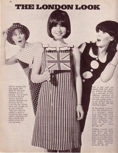 During the 1960s, London gave rise to the 'Mod look'. Garments were sold cheaply in a time in London known as 'Swinging London'. The Carnaby Street area of London popularized this Mod style with youth working in boutiques. The look was known for simple, geometric shapes on brightly colored garments and lots of black and white together.
