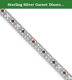 Sterling Silver Garnet Diamond Bracelet. Product Type:Jewelry Jewelry Type:Bracelets Bracelet Type:Gemstones/Natural Stones Material: Primary:Sterling Silver Material: Primary - Color:White Material: Primary - Purity:925 Length of Item:7 in Finish:Polished Plating:Rhodium Chain Length:7 in Chain Width:6 mm Clasp /Connector:Lobster Texture:Textured Profile Type:Open Back Stone Type_1:Garnet Stone Creation Method_1:Natural Stone Treatment_1:Not Enhanced Stone Shape_1:Round Stone Color_1:Red...
