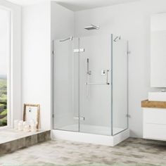 VIGO Monteray 32 x 48-in. Frameless Shower Enclosure with .375-in. Clear Glass and Chrome Hardware (Left Base included)