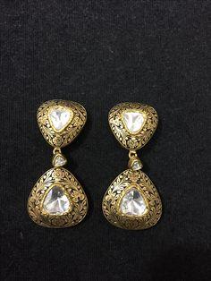 Partash work earings in polki diamonds