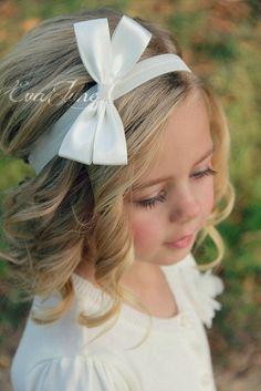 Flower Girl Headband White Hair Bow Ivory Hair Bow by EvaJune
