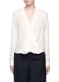 VINCE Drape wrap front silk blouse. #vince #cloth #blouse