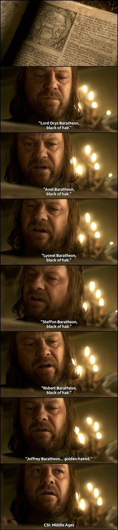 Game of Thrones...how Eddard Stark figured out that Joffrey is a bastard child of incest. :)